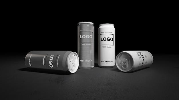 白と銀の缶の3 dレンダリングのモックアップ画像。