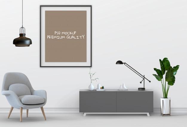 リビングの3 dレンダリングインテリアルームモックアップ空白ポスター。