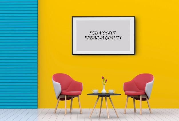 インテリアリビングルームと椅子、3 dレンダリングのポスターフレームのモックアップします。