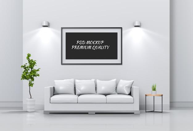 インテリアリビングルームとソファ、3 dレンダリングのポスターフレームのモックアップします。