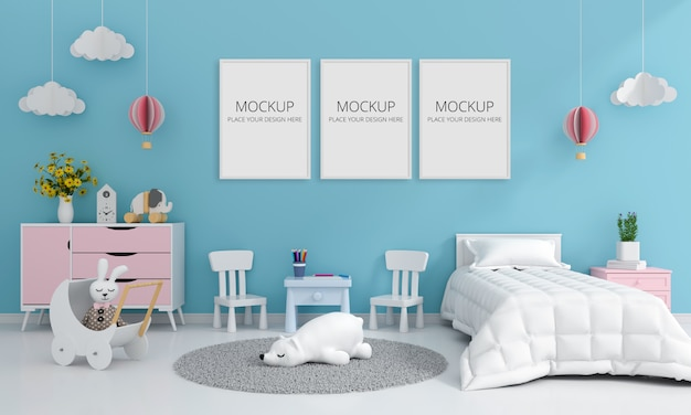 モックアップ、3 dレンダリングのための青い子供寝室のインテリア