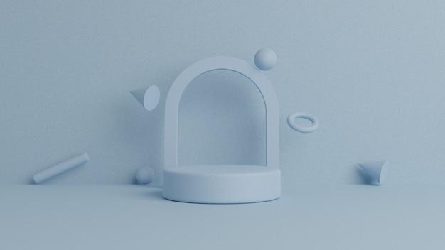 円形の背景を持つ製品配置のための3 dの幾何学的な表彰台