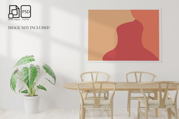 ダイニングルームとテーブルは、白い背景、正面図、模擬作業、3 dレンダリングのための白い壁にコピースペースを設定