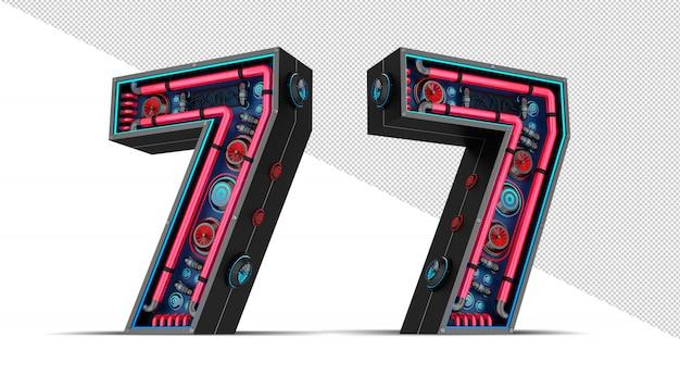 赤と青のネオンライト3 dレンダリング図と黒の数。