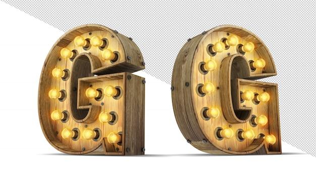 木製アルファベット電球3 dレンダリング図