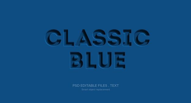 青い3 dテキストスタイル効果モックアップ