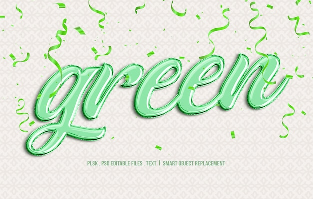 緑の3 dテキストスタイルのモックアップ
