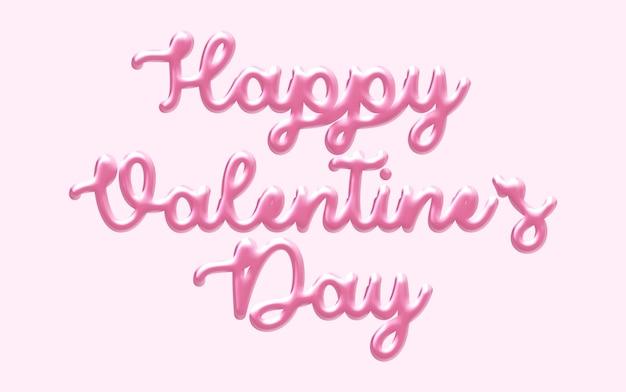 幸せなバレンタインデーの3 dテキストスタイルのモックアップ
