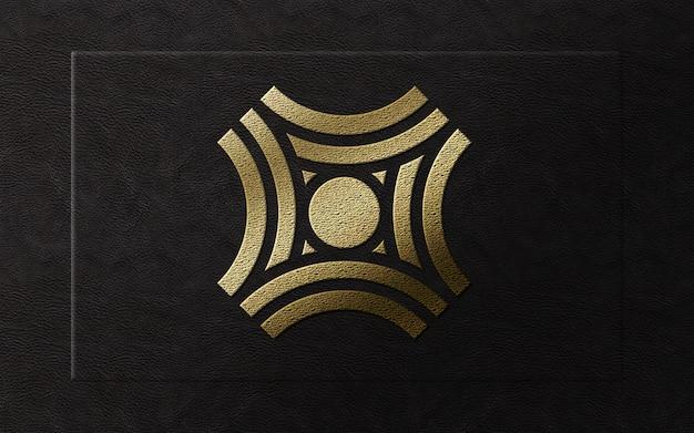 レザーモックアップに3 dのモダンなゴールドホイルの高級ロゴ
