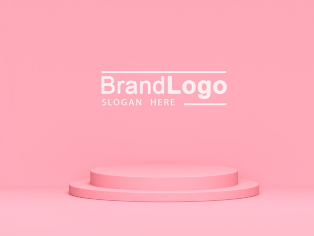 ピンクのパステル製品が背景に立っています。抽象的な最小限の幾何学の概念.3 dレンダリング