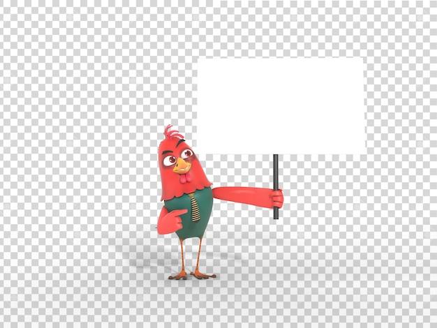 透明な背景を持つプラカードを持ってかわいいカラフルな3 dキャラクターマスコットイラスト