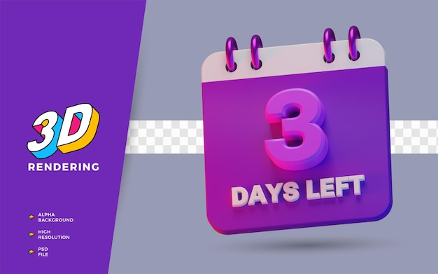 3 дня до конца календаря планировщик 3d визуализации иллюстрации изолированного объекта