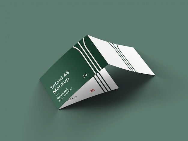 3 fold landscape brochure mockup