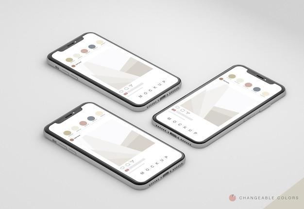 3 изометрических минимальных 3d-телефона с макетом интерфейса rrss