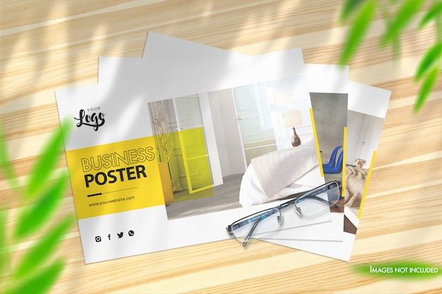3 landscape posters photorealistic mockup top view