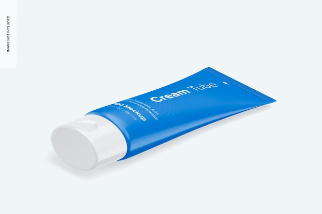 3 oz cream tube mockup, vista isometrica a destra