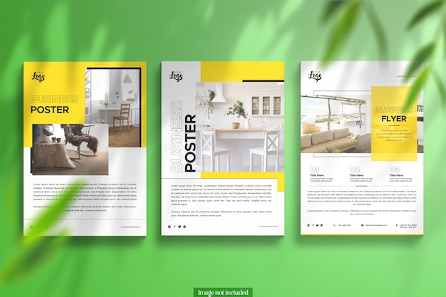 3 shiny posters with floral overlay clean mockup