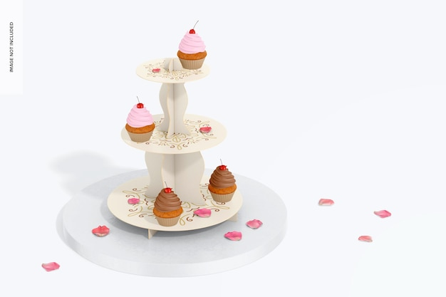 Mockup di supporto per cupcake in cartone a 3 livelli
