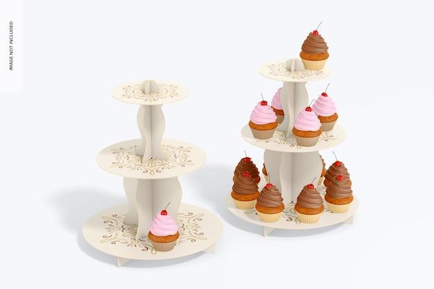Mockup di supporti per cupcake in cartone a 3 livelli