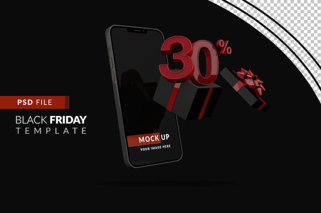 30-процентная акция черной пятницы с макетом смартфона и черной подарочной коробкой