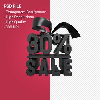 30-процентная распродажа с бантом и лентой 3d-дизайн изолированы