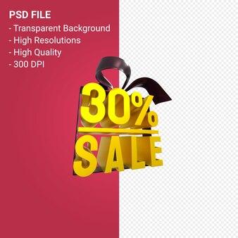 Распродажа 30% с бантом и лентой 3d-дизайн на изолированном фоне