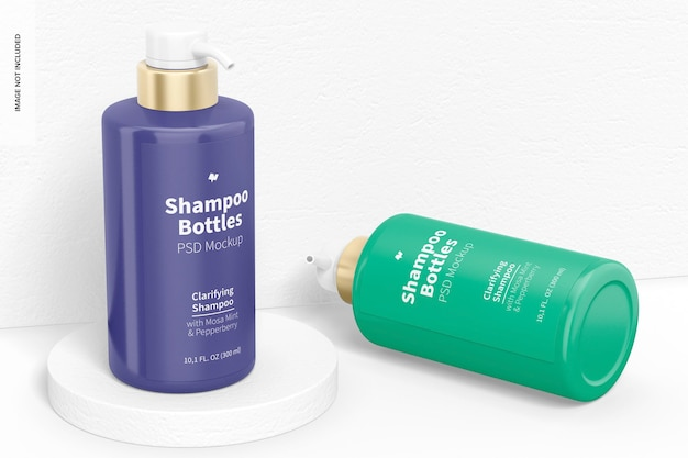 300 ml shampoo bottle mockup, standing and dropped