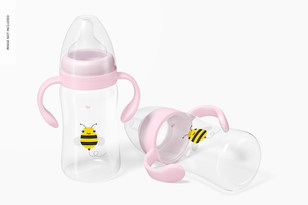 Мокап бутылочек для детского молока на 300 мл в блистерной упаковке