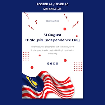 31 august malaysia independence day flyer stationery template