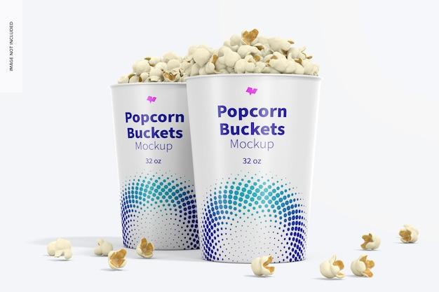 Мокап ведерок для попкорна на 32 унции, вид спереди
