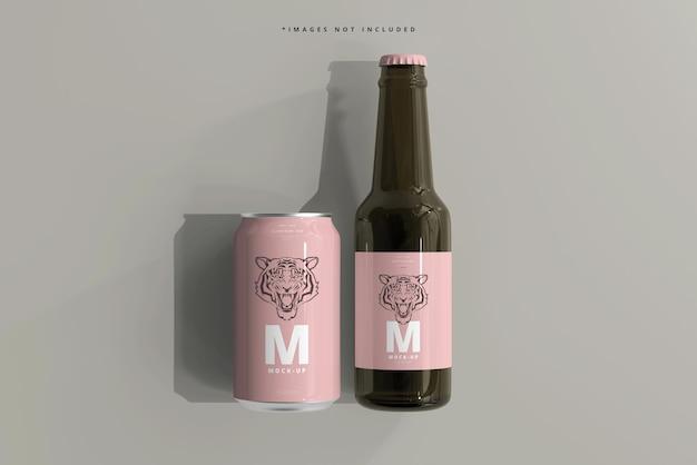 330ml soda di medie dimensioni o lattina di birra e bottiglia mockup