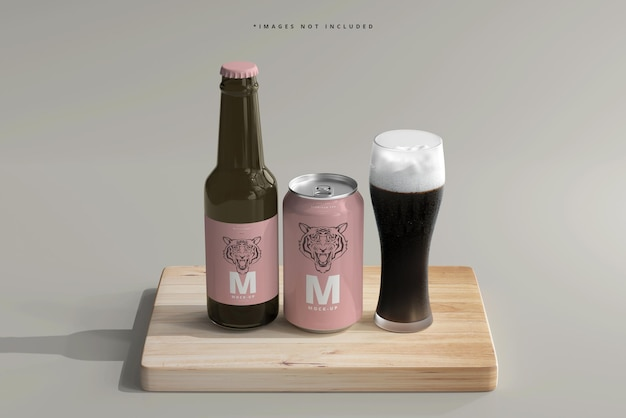 330ml medium size soda or beer can and bottle mockup