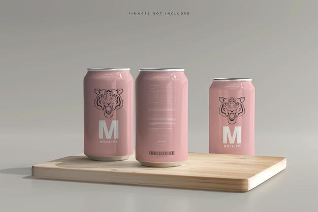 Mockup di lattine di birra o soda di medie dimensioni da 330 ml