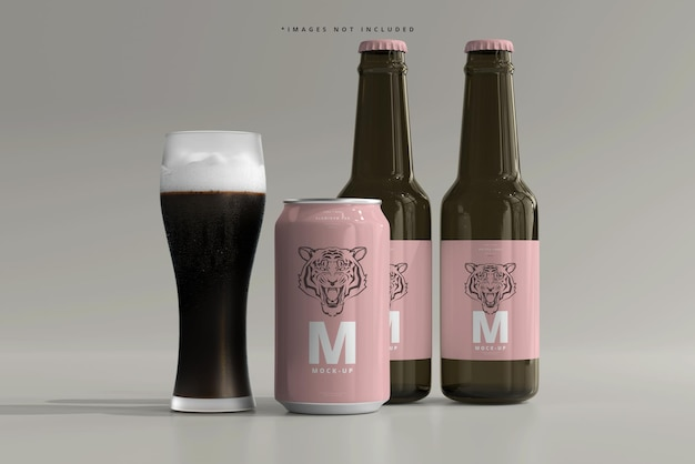330mlミディアムサイズのソーダまたはビール缶とボトルのモックアップ