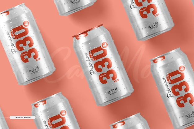 330ml soda cans mockup