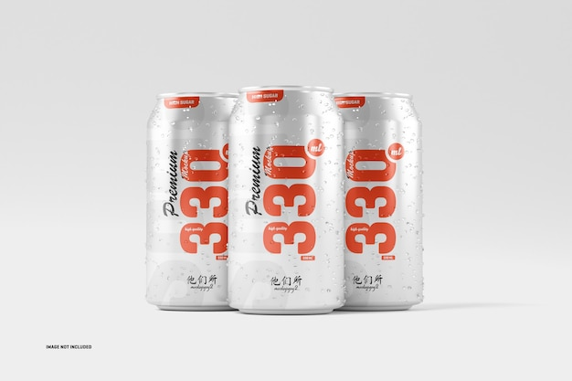 Mockup di lattine di soda da 330 ml