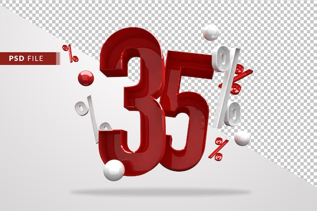 35 percentage percent sign 3d number red, psd file template 3d render