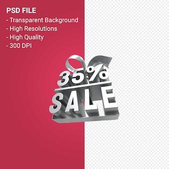 35-процентная распродажа с бантом и лентой 3d-дизайн изолированы