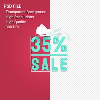 35% распродажа с бантом и лентой 3d-дизайн на изолированном фоне