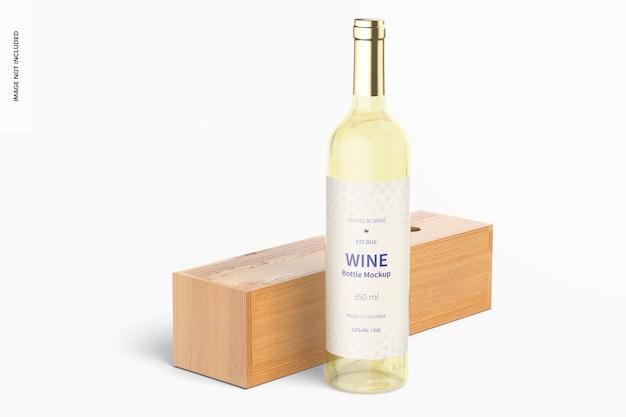 350ml wine bottle mockup with lying wood box