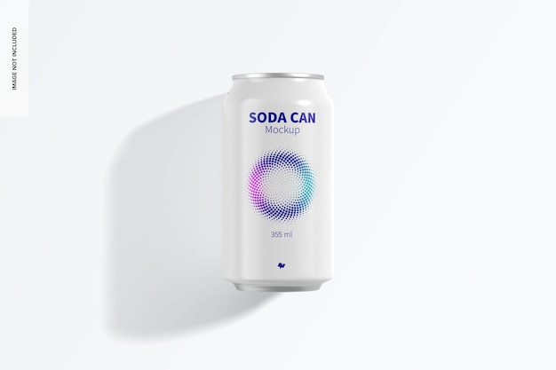 355 ml soda can mockup, top view