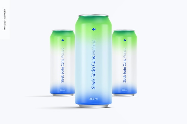 355 ml soda cans mockup, front view
