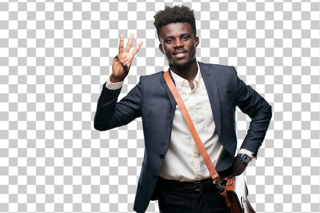 若い黒人の実業家、笑顔と満足して、幸せ、3番目の指で数える。