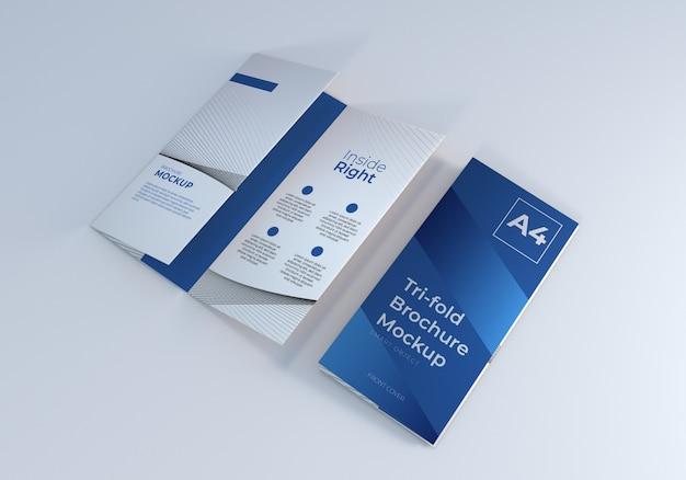 きれいな3つ折りパンフレットのモックアップテンプレート