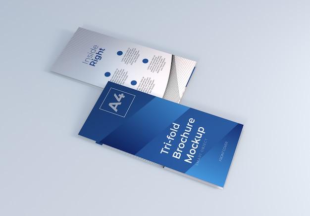 閉じた3つ折りパンフレットのモックアップ