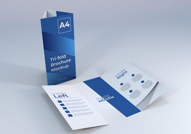 現実的な3つ折りパンフレットのモックアップデザイン