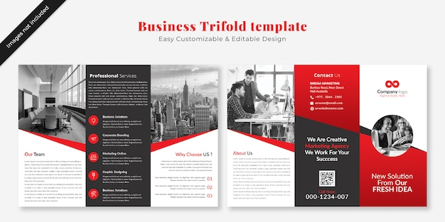 ビジネス3つ折りパンフレットテンプレートモックアップ