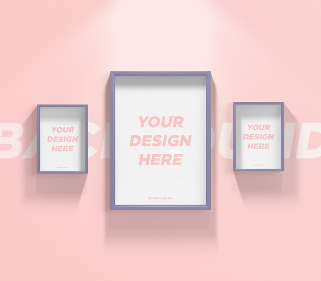 3つのポスターの壁またはフォトフレームのモックアップ