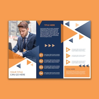 3つ折りの幾何学的なビジネスパンフレットのテンプレート