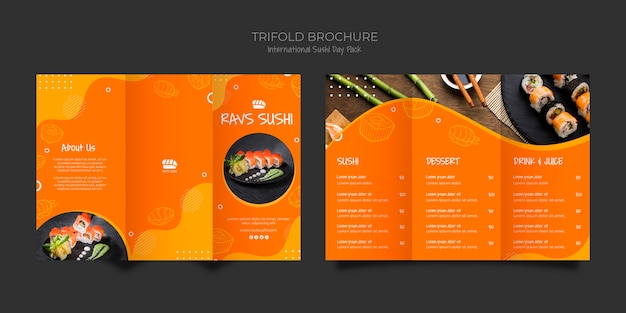 寿司レストランの3つ折りパンフレットテンプレート